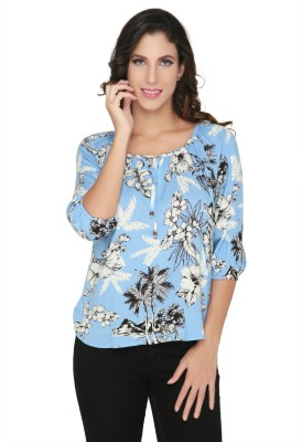 Philigree Casual 3/4 Sleeve Floral Print Women,s Blue Top