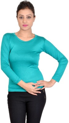 SWEEKASH Casual Full Sleeve Solid Women's Light Green Top