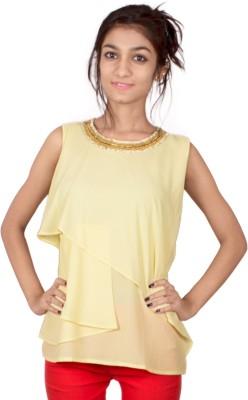TIMBERLAKE Casual Sleeveless Solid Women's Yellow Top