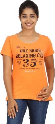 FICTIF Casual Short Sleeve Printed Women's Orange Top