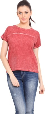 Trend Arrest Casual Short Sleeve Solid Women's Red Top