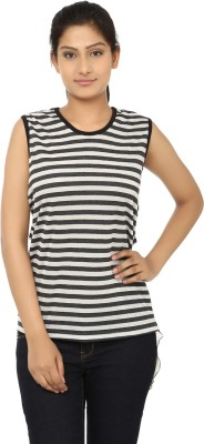 Aussehen Casual Sleeveless Striped Women's Black, White Top