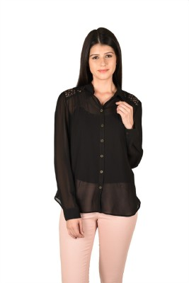 French Creations Casual Full Sleeve Solid Women's Black Top