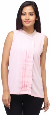 Entease Casual Sleeveless Striped Women's Pink Top