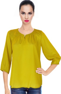 BeforeAfter Casual 3/4 Sleeve Solid Women's Yellow Top