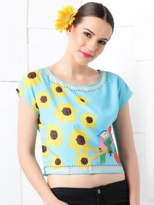 Masaba for Anouk Casual Short Sleeve Floral Print Women's Blue Top