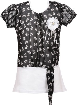 Fashionable Casual Short Sleeve Self Design Girl,s White Top