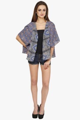 Citypret Casual Kimono Sleeve Floral Print Women's Blue Top