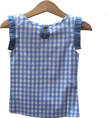 IDK Casual Cape Sleeve Checkered Girl's Light Blue, White Top