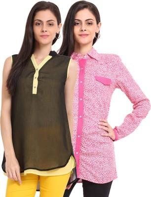 Sweet Lemon Casual Full Sleeve Printed Women's Pink, Yellow, Black Top