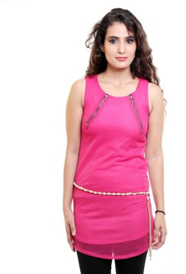 Sea Lion Casual Sleeveless Solid Women's Pink Top