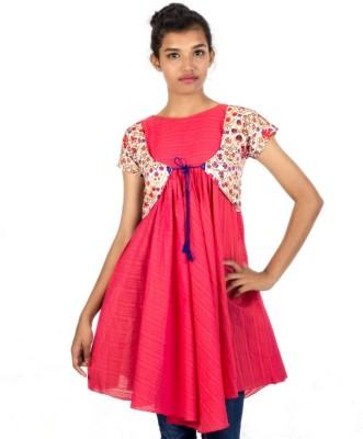 HastaVarna Studio Casual, Party, Lounge Wear Short Sleeve Self Design Women's Red Top