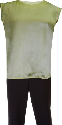 Ovzia Party Cape Sleeve Solid Women's Light Green Top