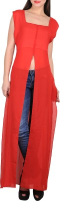 Sierra Casual Sleeveless Solid Women's Red Top