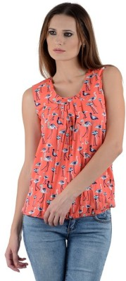PINK SISLY Casual Sleeveless Printed Women's Pink Top