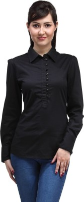 Eves Pret A Porter Casual Full Sleeve Solid Women's Black Top