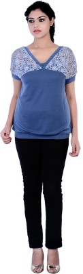 Divaz Fashion Casual, Party Short Sleeve Solid Women's Blue Top