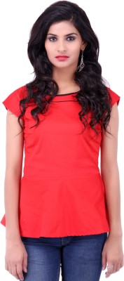 Fbbic Party Short Sleeve Solid Women's Red Top