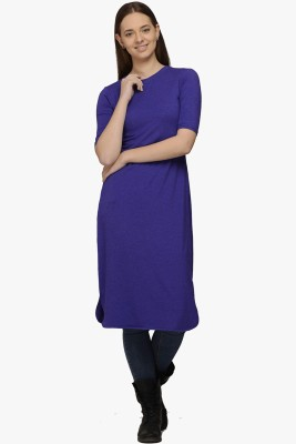 Fugue Casual Short Sleeve Solid Women's Purple Top