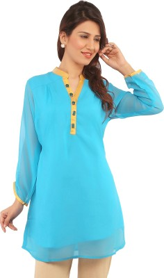 Fab Nisa Casual Full Sleeve Solid Women's Blue Top