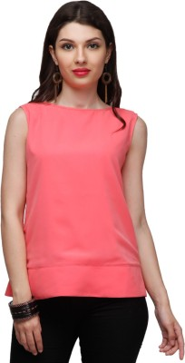 Eavan Casual Sleeveless Solid Women Pink Top at flipkart