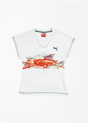 Puma Casual Short Sleeve Printed Girl's White Top