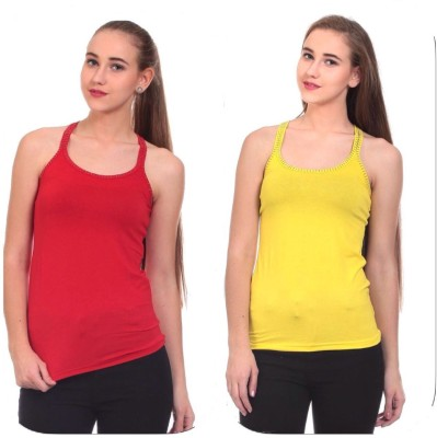 Claude 9 Casual Sleeveless Solid Women's Red, Yellow Top