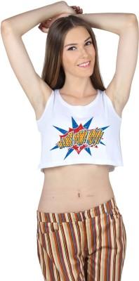 SayItLoud Casual Sleeveless Graphic Print Women,s White Top