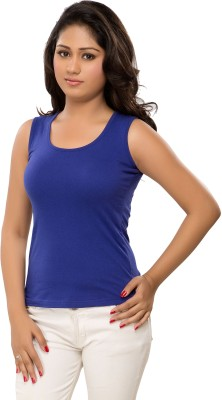 Hbhwear Casual Sleeveless Solid Women's Dark Blue Top