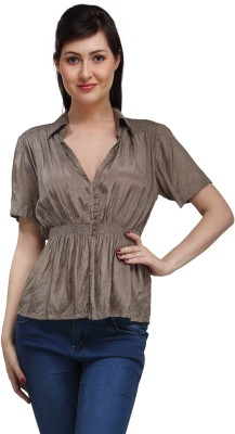 Eves Pret A Porter Casual Short Sleeve Solid Women's Brown Top