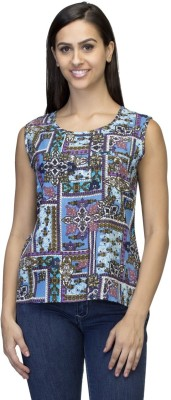 DRESSING DADDY Casual Sleeveless Printed Women's Blue Top
