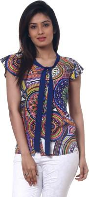 Lynda Casual Cape Sleeve Printed Women's Multicolor Top