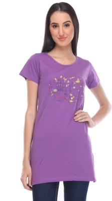 Rose Taylor Casual Short Sleeve Printed Women's Purple Top