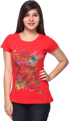 Strawberry Girl Casual Short Sleeve Printed Women,s Red Top