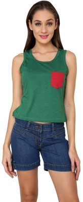 99Hunts Casual Sleeveless Solid Women's Green Top