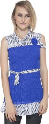 Membooz Casual, Party Short Sleeve Self Design Women's Blue Top