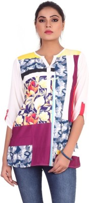 Pink Nine Casual 3/4 Sleeve Floral Print Women's White, Purple Top