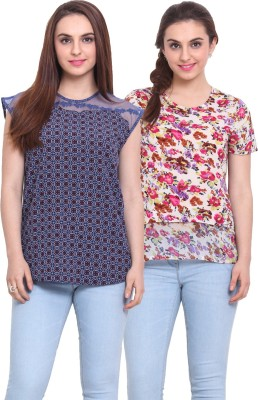 Rena Love Casual Short Sleeve Printed Women's White, Pink, Blue Top