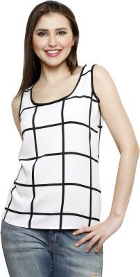Dhrohar Casual Sleeveless Checkered Women,s White Top