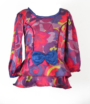 MARSHMALLOW Party Full Sleeve Printed Girl's Multicolor Top