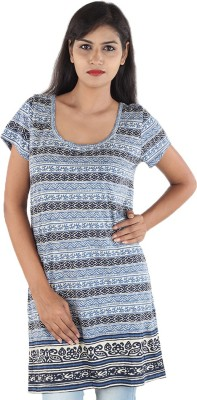 Megha Casual Short Sleeve Printed Women,s Light Blue Top