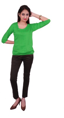 Ur Sense Casual 3/4 Sleeve Solid Women's Light Green Top