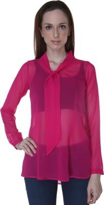 Rigoglioso Formal Full Sleeve Solid Women's Pink Top