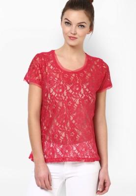 Prakum Casual Short Sleeve Self Design Women,s Pink Top