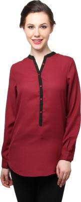 Moderno Formal Full Sleeve Solid Women's Maroon, Black Top