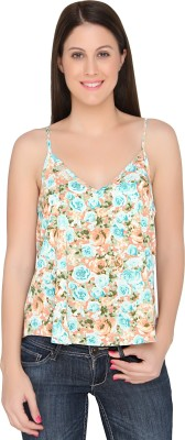 The Apparel Quotient Party Sleeveless Floral Print Women's Multicolor Top