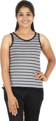 HALF INCH Casual Sleeveless Striped Women's Grey Top