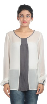 Zoe Fashions Formal Full Sleeve Self Design Women's White Top