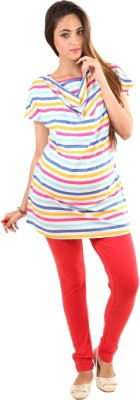 Kriti Western Maternity Casual Short Sleeve Striped Women's Multicolor Top