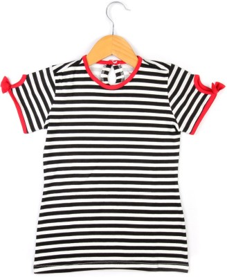 Allen Solly Casual Short Sleeve Striped Girl's Black Top